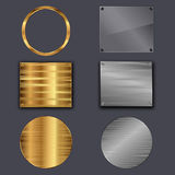 Metal plates. Set of metal plates on grey background. Vector illustration Vector Illustration