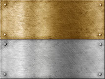 Metal plates set including gold (brass) Stock Images