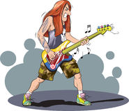 Metal player. Vector illustration of heavy metal guitarist Stock Photography