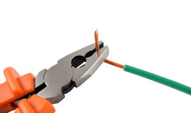 Metal pliers and coppe Stock Image
