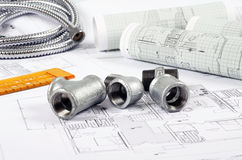 Metal plumbing fittings Royalty Free Stock Photos