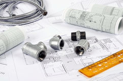 Metal plumbing fittings, Royalty Free Stock Photo