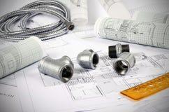 Metal plumbing fittings Stock Photo