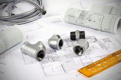 Metal plumbing fittings Stock Photography