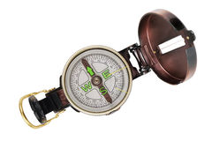 Metal pocket travel compass Royalty Free Stock Image
