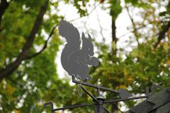 Windsock in the form of squirrel. Autumn Park stock photo