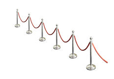 Metal pole barricades with red rope  Royalty Free Stock Photos
