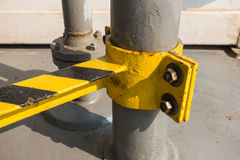 Metal pole with bolts and nuts. Installed royalty free stock image
