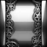 Metal polished background with cogwheel gears Stock Image