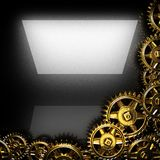 Metal polished background with cogwheel gears Stock Photos