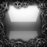 Metal polished background with cogwheel gears Stock Images