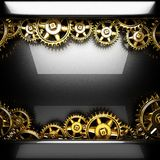 Metal polished background with cogwheel gears Stock Photography