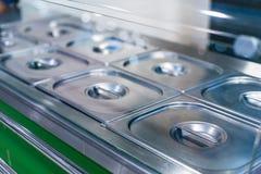 Metal polished buffet steel tray stock photo
