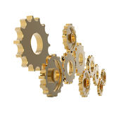 Metal polished gears. 3d image. Isolated white background Stock Photography