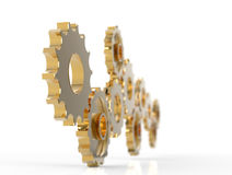 Metal polished gears. 3d image. Isolated white background Stock Image