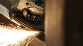 Metal polishing closeup stock video footage