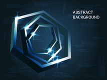 Metal polygons sparkle on the background. royalty free illustration