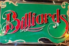 Metal poolroom and billiards retro emblem. Metal pool and billiards retro Sign stock photo