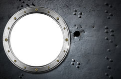 Metal Porthole on Grunge Background Royalty Free Stock Photography