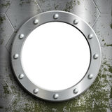 Metal porthole with rivets. Window on the a submarine. Stock vec Royalty Free Stock Images