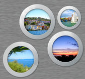 Metal porthole with travel photos Royalty Free Stock Images
