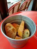 Metal Pot with Bread Stock Image