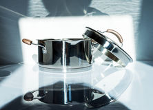 Metal pot with glass lid. Royalty Free Stock Photo