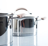 Metal pot with glass lid. Stock Photo