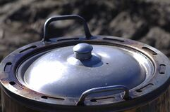 Metal pot with lid Stock Photos