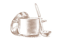 Metal pot with lid and ladle Stock Photography