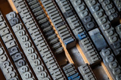 Metal printing press letters Royalty Free Stock Image