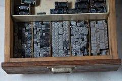 Metal printing press symbols Stock Photography