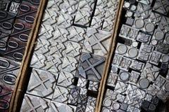 Metal printing press symbols Stock Image