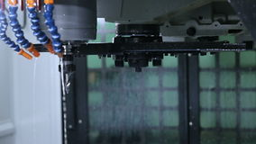Metal processing on CNC with a hydraulic system stock video