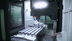 Metal processing on CNC with a hydraulic system stock footage