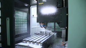 Metal processing on CNC with a hydraulic system stock video footage