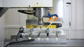 Metal processing on CNC with a hydraulic system. stock video