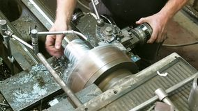 Metal processing on a lathe. Manufacturing details stock video