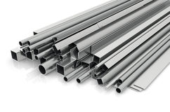 Metal products for building. On a white background. Building materials. 3d illustration Stock Photography
