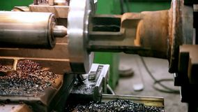 Metal products processing factory. With metal parts fray chips Production of energy and pipeline valves stock footage