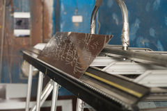Metal profil cutting machine close up Royalty Free Stock Photos
