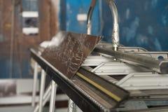 Metal profil cutting machine close up Royalty Free Stock Images