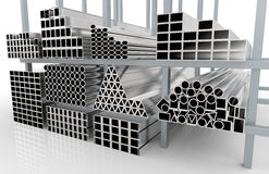 Metal profile. 3d render of  metal pipes on shelf Stock Image