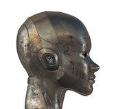 Metal profile of cyber woman. Metal profile of cyborg. 3d image isolated on white Royalty Free Stock Image
