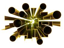 Metal Profile Gold. 3d images Royalty Free Stock Photography