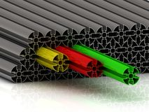 Metal profile of red, yellow and green Stock Image