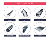Metal profile and tubes Stock Images