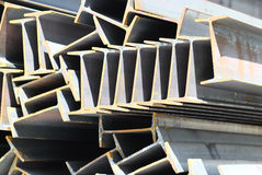 Metal profiles beam foundation for building structures. Steel Stock Image