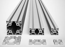 The metal profiles. 3d generated picture of some different metal profiles vector illustration