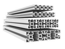 Metal profiles. 3d illustration of metal or aluminium profiles stock illustration